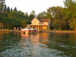 Cottage with yard - taken from the water -