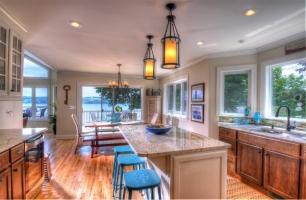 Kitchen with breath taking vies of Skaneateles Lake