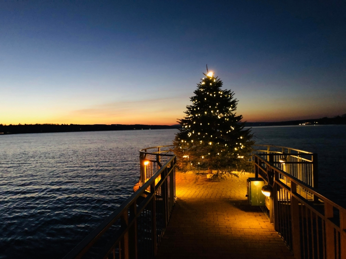 christmas tree with lights at the end of a pier at night