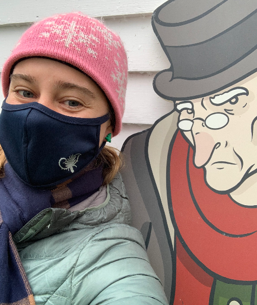 Selfie with a girl and scrooge